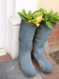 Dwa wellies buta na zewnątrz dzwi wejściowy ganeczka z kwiatami i zdjęcia stock