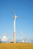 Dwa wiatrowy elektryczny generator na lata polu Estonia Obraz Stock