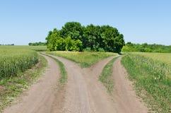 Dwa wiejska droga Zdjęcie Stock