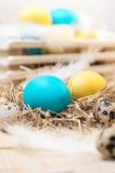 Dwa Wielkanocnego jajka w gniazdeczku na nieociosanym drewnianym tle Zdjęcia Stock