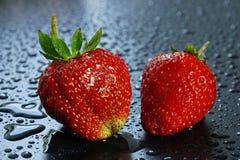 dwa wielkiej dojrzałej czerwonej truskawkowej jagody na ciemnej tło wodzie Zdjęcie Stock