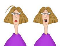 Dwa wizerunku Ten sam kobieta Patrzeje Nieszczęśliwy i Szczęśliwy ilustracji