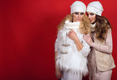 Dwa wspaniałej dziewczyny jest ubranym kapelusze, scarves, pulowery i waistcoats na czerwonym tle z perfect uśmiechami białych wo zdjęcia royalty free