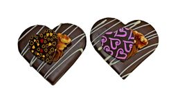 Dwa wyśmienicie dekorującego czekoladowego ciastka Obrazy Stock