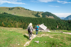 Dwa wycieczkowicz w alps Obrazy Royalty Free