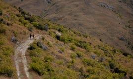 Dwa wycieczkowicza w odległości na sposobie w Nowa Zelandia Mt Pisa blisko Cromwell fotografia royalty free