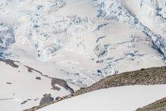 Dwa wycieczkowicza widoku góry Dżdżystego lodowa Obrazy Royalty Free
