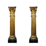 Dwa złocistej kolumny odizolowywającej na białym tle Obraz Royalty Free