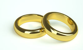dwa złote pierścienie żonaty Zdjęcia Royalty Free