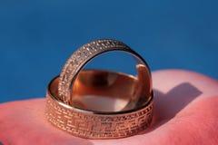 dwa złote pierścienie żonaty Obraz Stock
