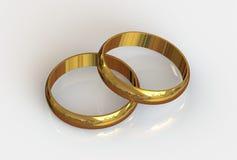 Dwa złotej obrączki ślubnej Obrazy Royalty Free