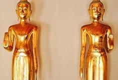 Dwa złoty Buddha, wata pho, Thailand Zdjęcie Royalty Free