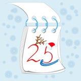 Dwadzieścia pięć desember na kalendarzu Obrazy Royalty Free