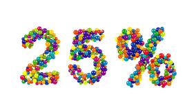 Dwadzieścia pięć procentów symbol w kolorowych żywych piłkach Fotografia Royalty Free