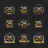 Dwadzieścia pięć rok rocznicowego świętowanie logotypu 25th rocznicowa logo kolekcja ilustracja wektor