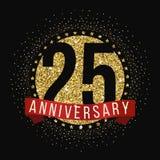 Dwadzieścia pięć rok rocznicowego świętowanie logotypu 25th rocznicowy logo Fotografia Royalty Free