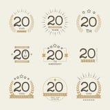 Dwadzieścia rok rocznicowego świętowanie logotypu 20th rocznicowa logo kolekcja Fotografia Royalty Free