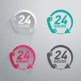 Dwadzieścia cztery godzina ikony Fotografia Royalty Free