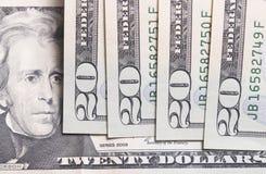 Dwadzieścia Dolarowych rachunków Obrazy Stock