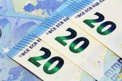 Dwadzieścia euro banknotów nowy projekt Zdjęcie Royalty Free