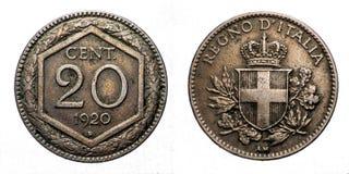 Dwadzieścia 20 centów lirów Srebnej monety Exagon korony Savoy osłony Vittorio Emanuele III 1920 królestwo Włochy Obrazy Royalty Free