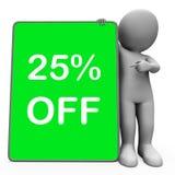 Dwadzieścia pięć procentów Z pastylka charakteru Znaczy 25% redukcję Lub Zdjęcia Royalty Free