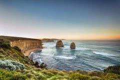 Dwanaście apostołów Wiktoria Australia przy wschód słońca zdjęcie stock
