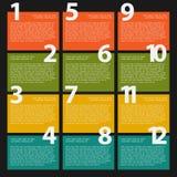 12 Dwanaście teksta kolorowy pudełko z krokami dla infographics Fotografia Royalty Free
