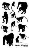 Dwanaście wektorów Małpich sylwetek inkasowych Obrazy Stock