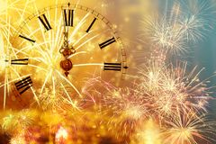 Dwanaście o ` zegar - nowego roku ` s wigilia Obraz Royalty Free