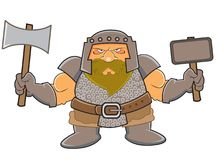 Dwarf. Standing holding an axe and war hammer Stock Image