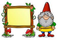 Dwarf. Cartoon dwarf standing next to a decorated frame Stock Photography