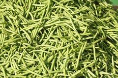 Dwarf beans. Green fresh dwarf beans on a market stall Royalty Free Stock Photos