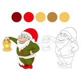 Dwarf. Christmas dwarf, helper of santa is holding a lamp.  illustration on white background. element for coloring book Stock Photo