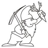 Dwarf - coloring. Leprechaun carries a pickaxe and carrots-coloring Stock Images
