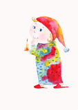 Dwarf. Cute dwarf with a candle in a red cap watercolor illustration Stock Images