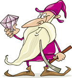 Dwarf with diamond. Cartoon  illustration of dwarf with diamond Royalty Free Stock Photography