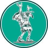 Dwarf Elf Raising Hands Circle Cartoon Royalty Free Stock Images