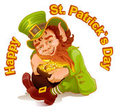Dwarf embraced pot of gold. Patricks Day. Leprechaun and gold Stock Photos