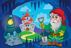 Dwarf in fairy tale cave Royalty Free Stock Images