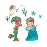 Dwarf and fairy under the mistletoe royalty free illustration