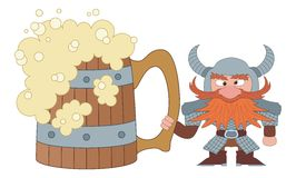 Dwarf with great beer mug. Drunken dwarf warrior in armor and helmet standing near the giant beer mug, funny comic cartoon character Royalty Free Stock Images