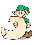 Dwarf  holding long list. Colored cartoon Dwarf illustration holding long list Stock Photo
