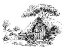 A dwarf house. In the woods sketch vector illustration