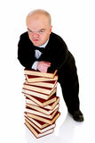 Dwarf, little man with books Royalty Free Stock Photography