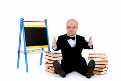 Dwarf, little man with books Royalty Free Stock Images