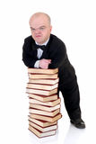 Dwarf, little man with books Stock Photo