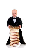 Dwarf, little man with books Stock Images