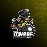 Dwarf mascot logo design vector with modern illustration concept style for badge, emblem and tshirt printing. angry dwarf. Illustration with shield and hammer stock illustration