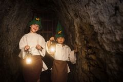 Dwarf miners with lamps Royalty Free Stock Photos